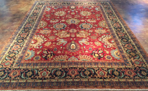 8x10 Red, Blue, Ivory Wool Rug- India