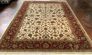 9x12 Ivory, Red Wool and Silk Rug- India