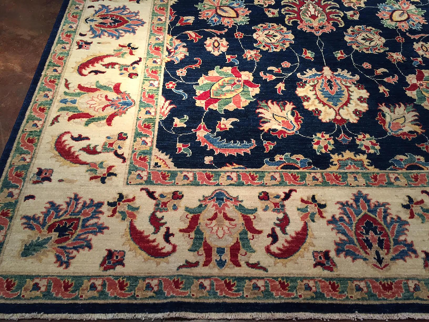 6 215 9 Blue Ivory Wool Rug India Behnam Rugs
