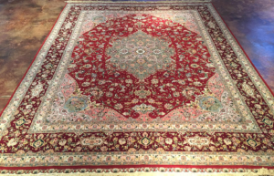 8x10 Red, Gold, Ivory Wool/Silk Rug- China