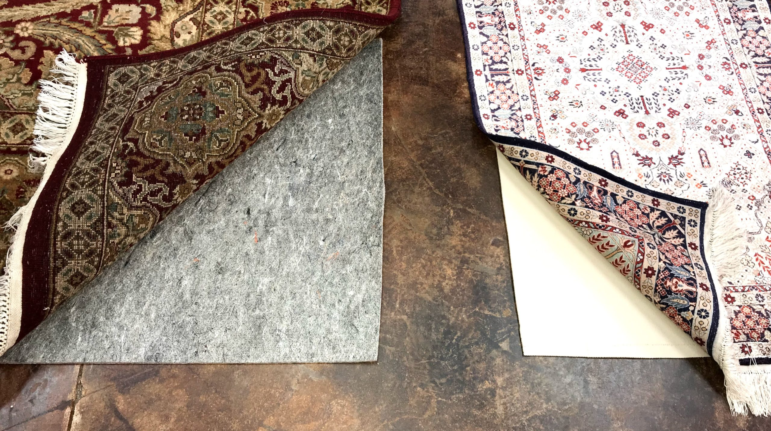 Two types of rug padding